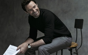 Picture smile, advertising, chair, photographer, actor, Hugh Jackman, Hugh Jackman, photoshoot, brand, Montblanc, Gilles-Marie Zimmermann