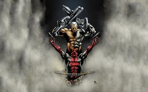 Picture fog, weapons, sword, iron, marvel, comic, super heroes, comics, deadpool, cable