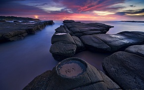 Picture stones, lighthouse, morning, Australia, New South Wales