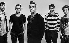Picture Mark Owen, Howard Donald, Jason Orange, Robbie Williams, Gary Barlow, pop-rock band, TakeThat