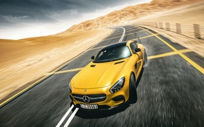 Picture Mercedes-Benz, Front, AMG, Yellow, Road, Supercar, Desert, Drifting, GT S