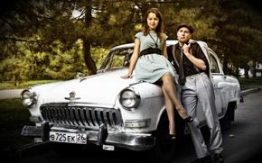 Wallpaper machine, retro, pair, retro, Volga, braces, retro car