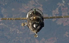 Picture space, Earth, antenna, spaceship, Soyuz TMA, the docking station