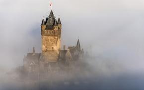 Picture the city, fog, castle, Germany, Germany, fog, mist, Cochem, haze, Reichsburg Cochem, Rhineland-Palatinate