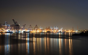 Picture light, sea, water, night, port, Greece, piraeus