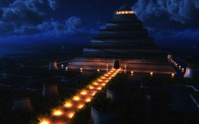 Picture night, pyramid, temple