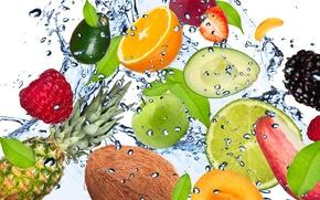 Picture water, drops, squirt, freshness, raspberry, lemon, apple, Apple, coconut, strawberry, lime, lemon, fruit, pineapple, banana, ...