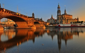 Picture sunset, bridge, river, building, Germany, architecture, Dresden