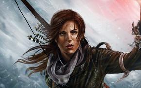Picture look, fire, the game, bow, art, torch, Tomb Raider, Lara Croft, devuschka