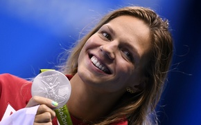 Picture look, girl, joy, face, figure, Olympics, medal, Russia, beauty, athlete, Russia, swimming, Olympic games, world …