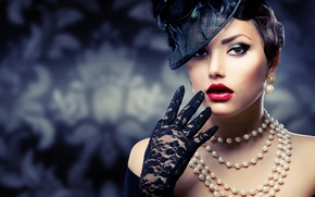 Picture girl, decoration, retro, hand, makeup, hairstyle, pearl, beads, hat, glove, Anna Subbotina