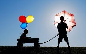 Picture children, mood, balls, umbrella, silhouettes
