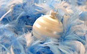 Picture close-up, holiday, toy, Shine, ball, feathers, fluff, New year
