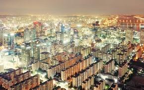Picture city, light, night