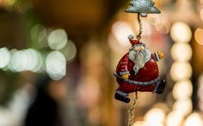 Picture toy, focus, rope, blur, decoration, Santa Claus