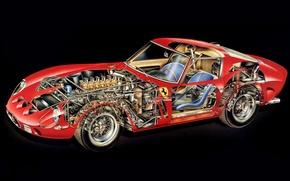 Picture background, engine, interior, red, GTO, 1962, Ferrari 250