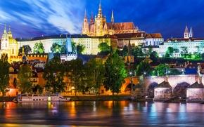 Picture Prague, Czech Republic, night city, promenade, ship, Prague, Charles bridge, Czech Republic, Charles Bridge, the …