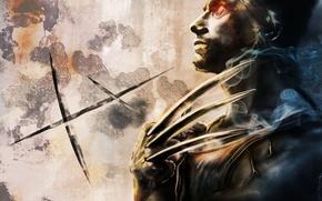 Picture metal, wall, smoke, art, claws, x-men, wolverine, x-men, Bolvin Cheong, Wolverine