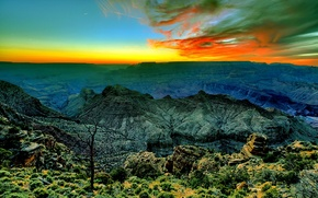 Picture the sky, clouds, sunset, mountains, canyon, glow