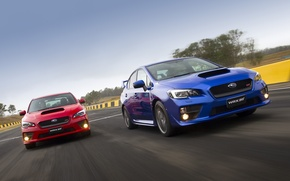 Picture road, movement, two, Subaru, WRX, red, blue