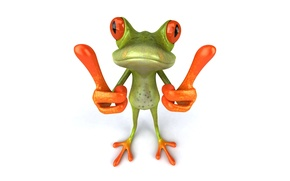 Picture graphics, frog, Free frog 3d, finger
