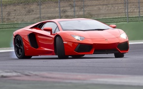 Picture red, movement, turn, red, drift, lamborghini, Lamborghini, aventador, aventador lp700-4, лп700-4