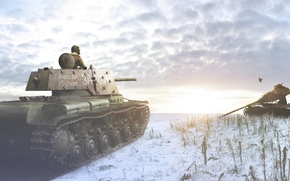 Picture the sun, snow, the inscription, bird, the skeleton, tank, render, tanker, KV-1, Klim Voroshilov
