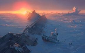 Picture ice, sea, snow, fiction, the ocean, ship, art, frozen, alexiuss, apocalypse