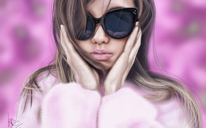 Picture girl, glasses, coat, pink background, art, glitchgee