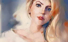 Picture look, art, blonde, blue-eyed, drawn girl