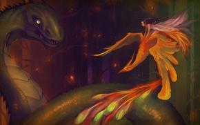 Picture girl, flight, face, fiction, fire, hair, wings, dress, tail, profile, Phoenix, Firebird