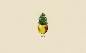 Wallpaper Apple, minimalism, pineapple, pine