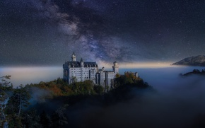 Wallpaper autumn, the sky, the milky way, stars, night, castle, Germany, fog