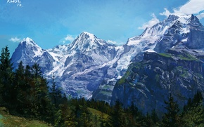 Picture trees, landscape, mountains, nature, rocks, figure, slope, glacier, art