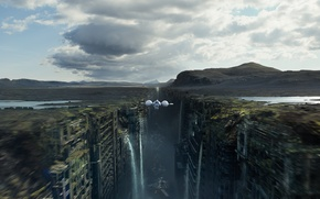 Picture flight, the city, ship, gorge, ruins, waterfalls, oblivion, oblivion