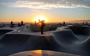 Picture sky, sunset, park, clouds, people, skate, skateboard, curves, concrete, skate park
