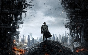 Picture Into Darkness, Khan, the wreckage, opening, male coat, Star Trek, the city