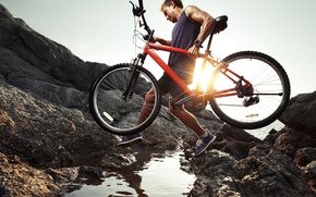 Picture nature, rocks, cyclist, mountain bike