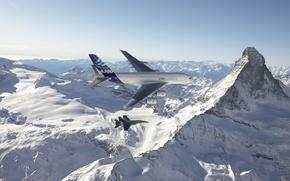 Wallpaper Passenger, Airbus, The sky, Flight, A380, Height, Douglas, Deck, Hornet, Fighter-bomber, Mountains, F/A-18, Mcdonnell, Snow, ...