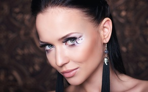Picture look, decoration, face, model, portrait, makeup, brunette, hairstyle, beauty, bokeh, closeup, Angelina Petrova, Angelina Petrova