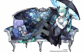 Picture girl, umbrella, sofa, the inscription, hair, robot, skirt, pillow, Anime, Tights, vocaloid, hatsune miku, long …