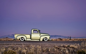 Picture Chevrolet, wheels, side, road, sky, hill, horizon, 1949, chopped