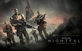 Wallpaper stars, weapons, fiction, planet, the series, action, fighters, Halo: Nightfall, Halo: Nightfall