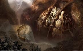 Wallpaper waterfall, dawn, fortress, mountains