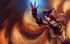 Picture girl, flame, armor, animal ears, league of legends, ahri