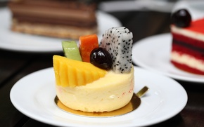 Picture berries, plates, fruit, dessert, cakes, sweet
