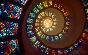Picture light, Windows, spiral, stained glass