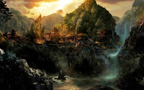Picture forest, mountains, dawn, Asia, waterfall, village, settlement, Frank Hong, Frank Hong