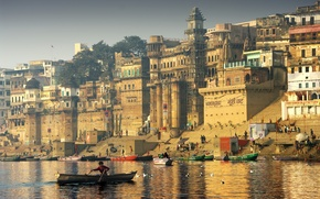 Picture the city, seagulls, boats, India