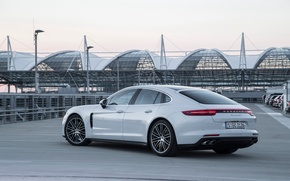 Picture car, auto, white, Porsche, Panamera, white, Porsche, nice, exhausts